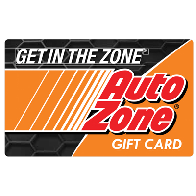 AUTOZONE<sup>®</sup> $25 Gift Card – Perfect for do-it-yourself car owners to shop for auto parts, car accessories and vehicle information in-store and online!