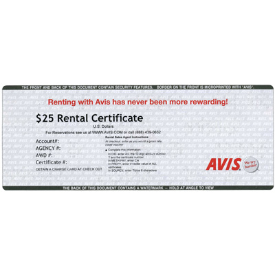 AVIS<sup>®</sup> Rental $25 Gift Card - Use this card to book low rates online and reserve a rental car!