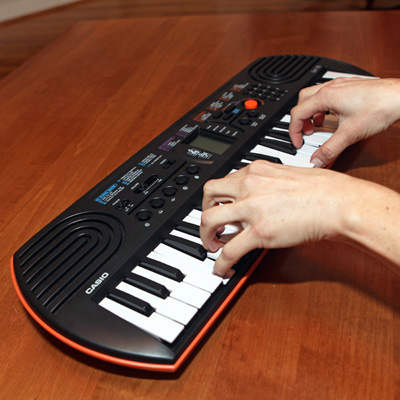 CASIO<sup>®</sup> Mini Keyboard with LCD Screen – Forty-four-key mini keyboard with LCD Screen includes 100 tones and 50 accompaniment patterns.  Learn to play with 10 demo songs!
