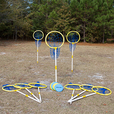 PARK & SUN<sup>®</sup> Sports Super Loop Target Set - Family and friends can enjoy outdoor disc golf with this fun Super Loop set. Features nine 2-piece uprights, nine 18-target hoops with attached nets, nine poly ground stakes, nine numbered marker flags and four playing discs.